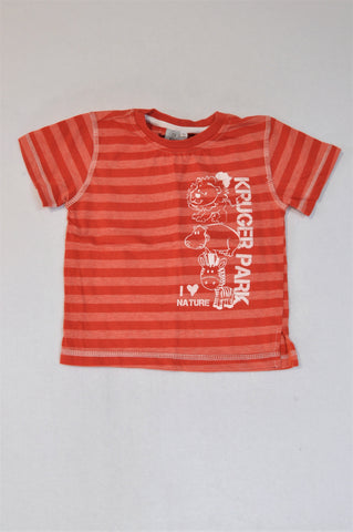 African Origin Red Stripe Lion T-shirt Unisex 5-6 years