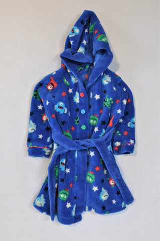 Woolworths Royal Blue Fleece Monster Dressing Gown Boys 12-18 months