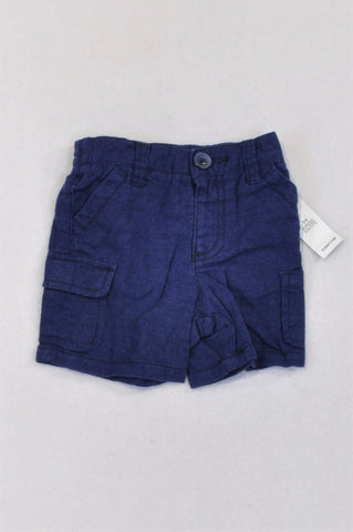New Old Navy Blue Linen Cargo Shorts Boys 3-6 months