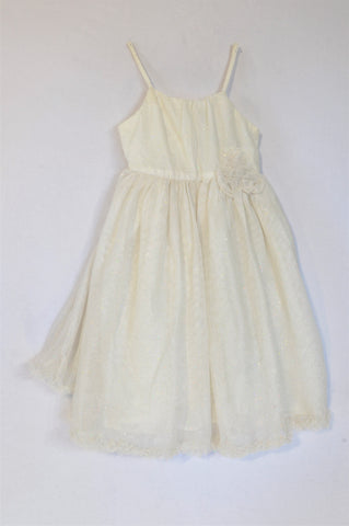 H&M White Glitter Flower Dress Girls 7-8 years