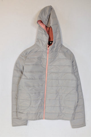 Mr. Price Grey Padded Pink Zipper Jacket Girls 11-12 years