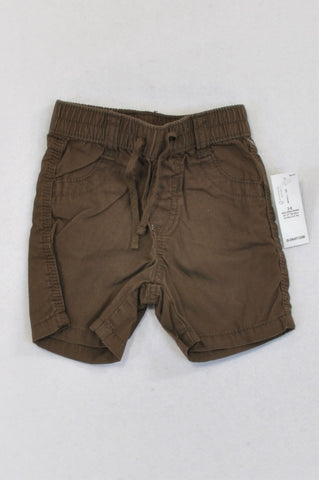 New Old Navy Brown Drawstring Elasticated Band Shorts Boys 3-6 months