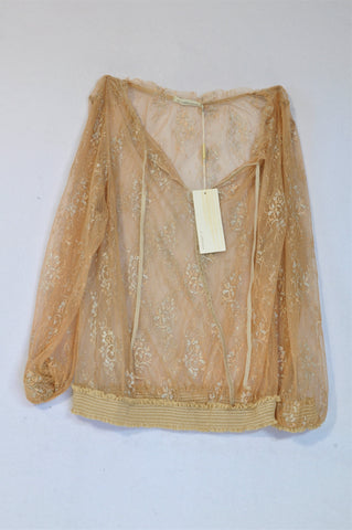 New Woolworths Gold & Silver Flower Sheer Blouse Women Size 36