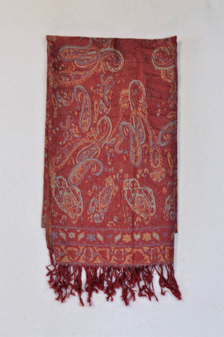 Unbranded Red Paisley Tassle Scarf Women