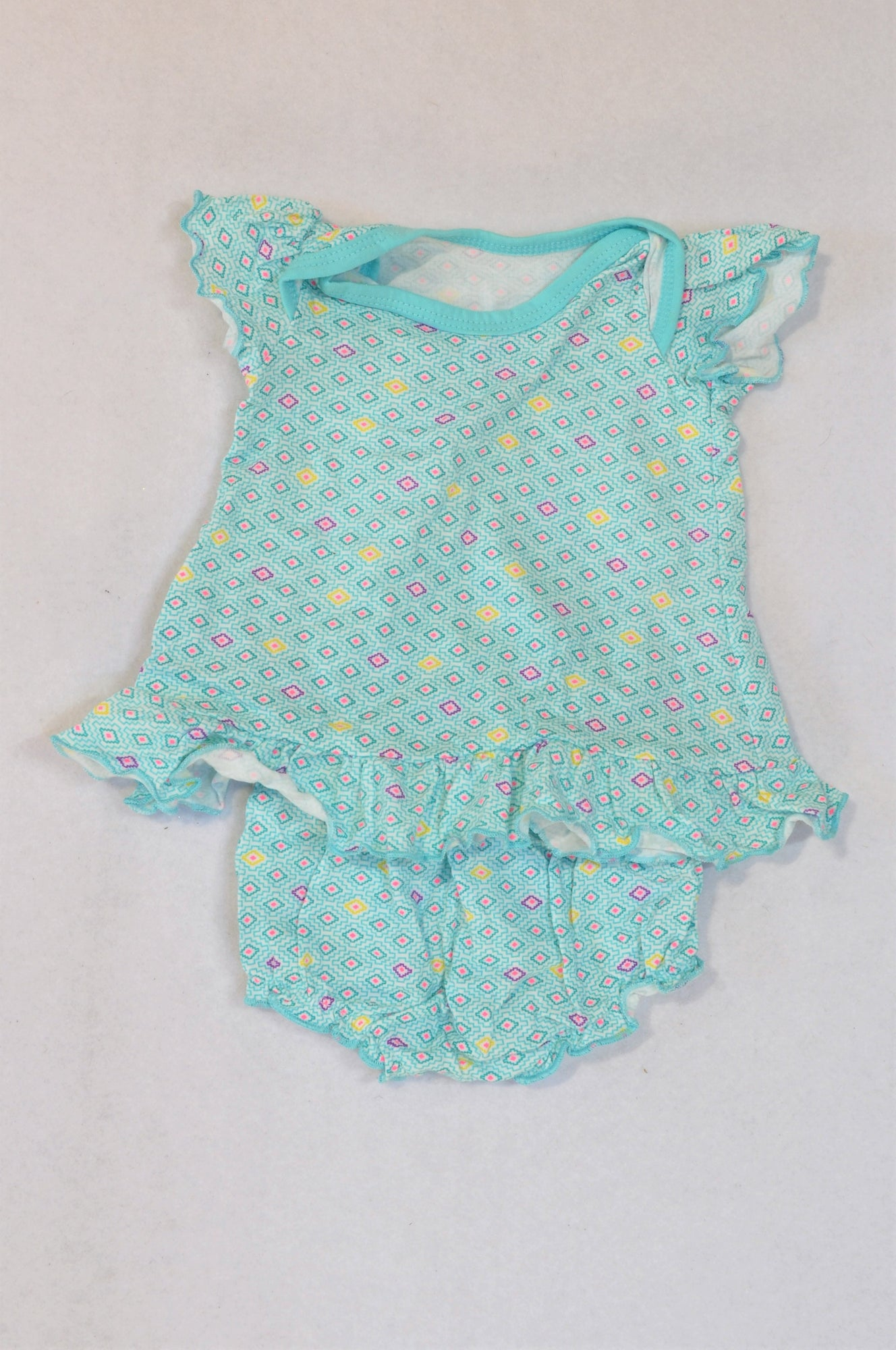 Woolworths Light Blue Geometric Dress & Bloomers Outfit Girls N-B