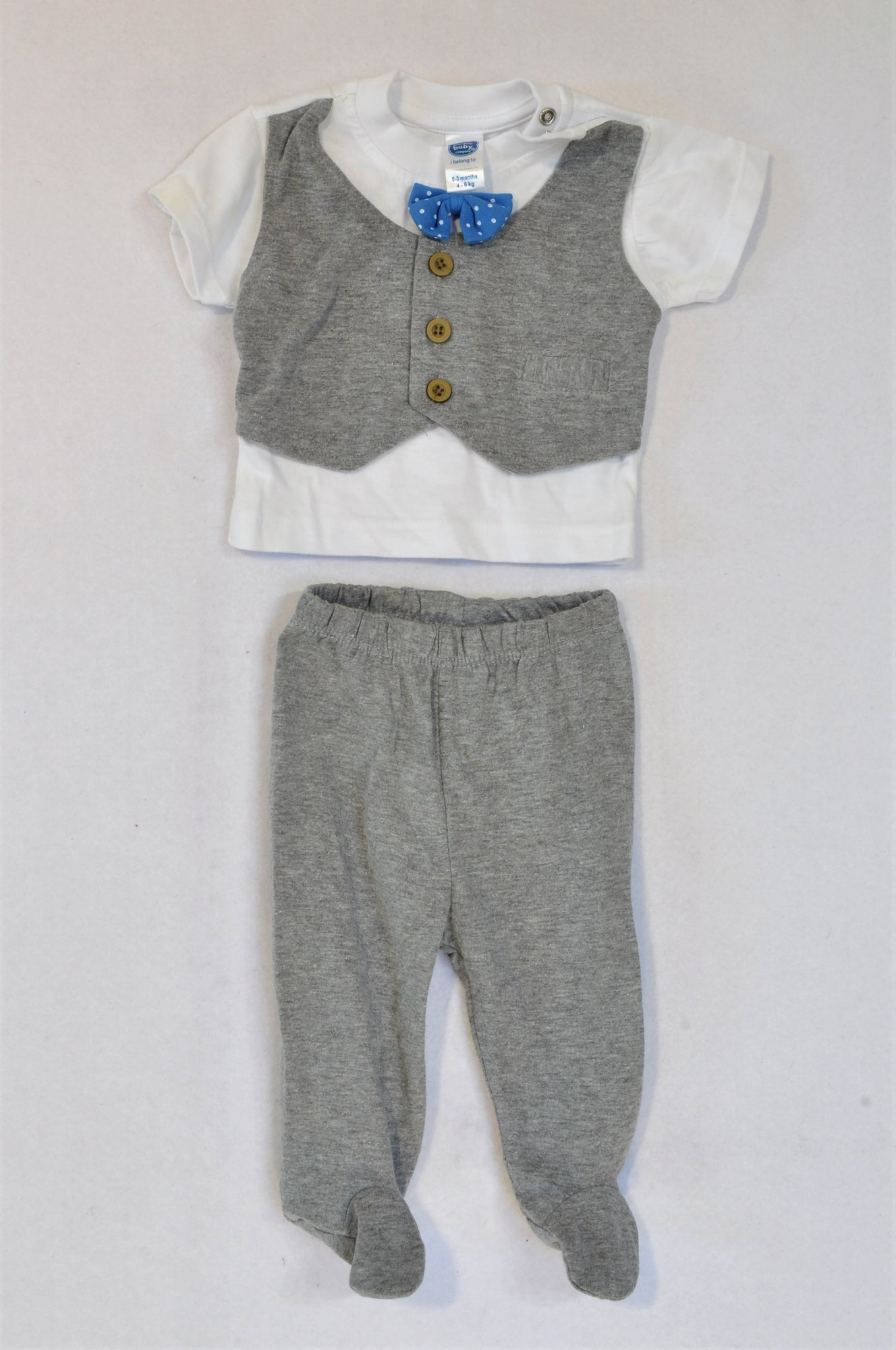 Ackermans Grey Waistcoat T-Shirt & Leggings Outfit Boys 0-3 months
