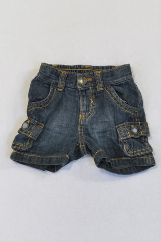 Old Navy Stone Washed Denim Cargo Shorts Boys 0-3 months