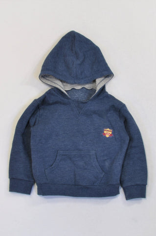 Woolworths Blue Grey Trim Patch Hoodie Boys 12-18 months