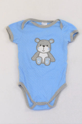 Edgars Blue Dotty Grey Bear Baby Grow Boys 3-6 months