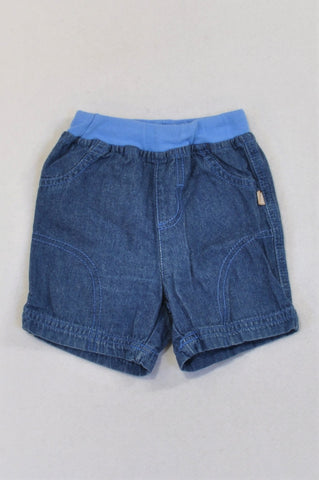 Ackermans Blue Banded Denim Shorts Boys 6-12 months