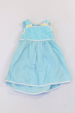 Gymboree Sky Blue Eyelet Bodice Dress Girls 6-12 months
