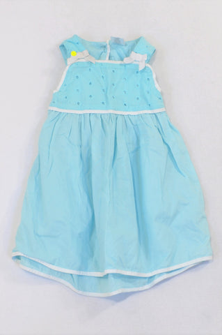 Gymboree Sky Blue Eyelet Bodice Dress Girls 12-18 months