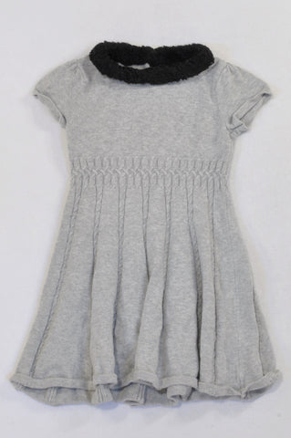 Gymboree Grey Cable Knit Jersey Dress Girls 3-4 years