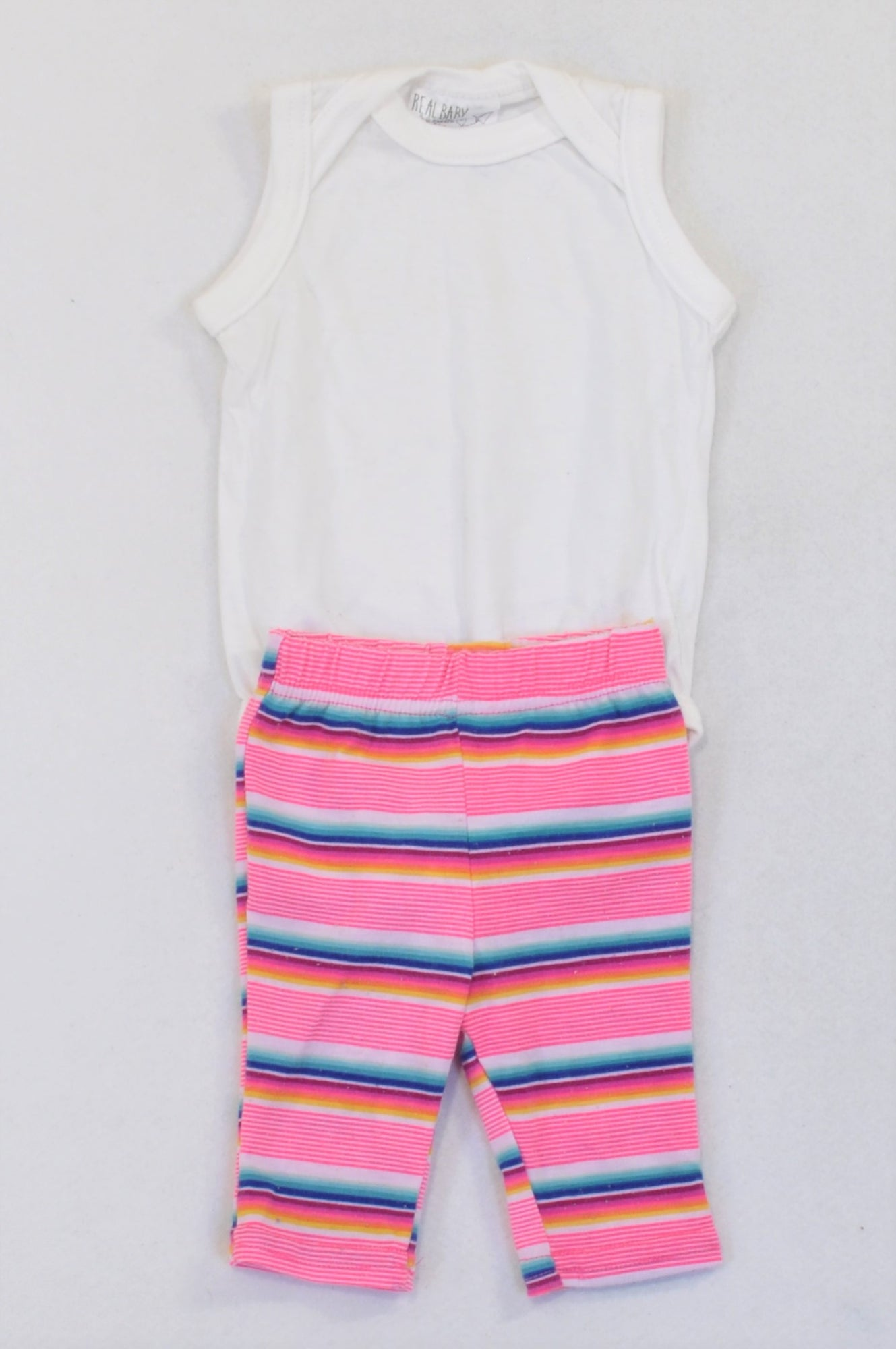 Pick 'n Pay White Vest & Lumo Striped Leggings Outfit Girls 3-6 months