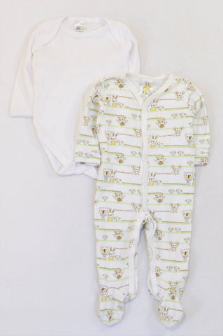 Edgars Brown Woodlands Animal Onesie & White Baby Grow Unisex 3-6 months