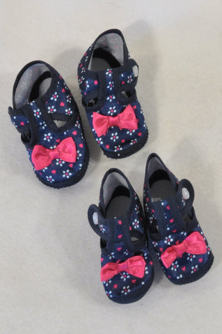2 Pack Navy Pink Ditsy Daisy Shoes Girls N-B