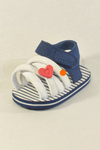 Mothercare Blue and White Sandals Girls 0-3 months