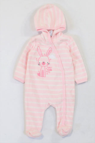 Ackermans Pink Stripe Fleece Bunny Onesie Girls 0-3 months