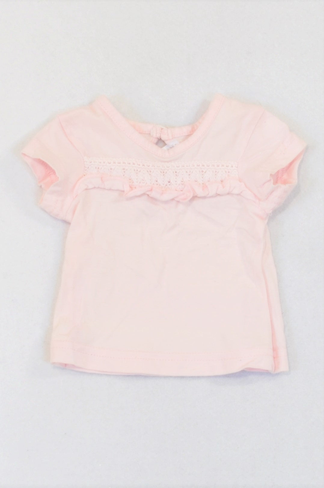 Edgars Soft Pink Lace Frill Inset T-shirt Girls N-B