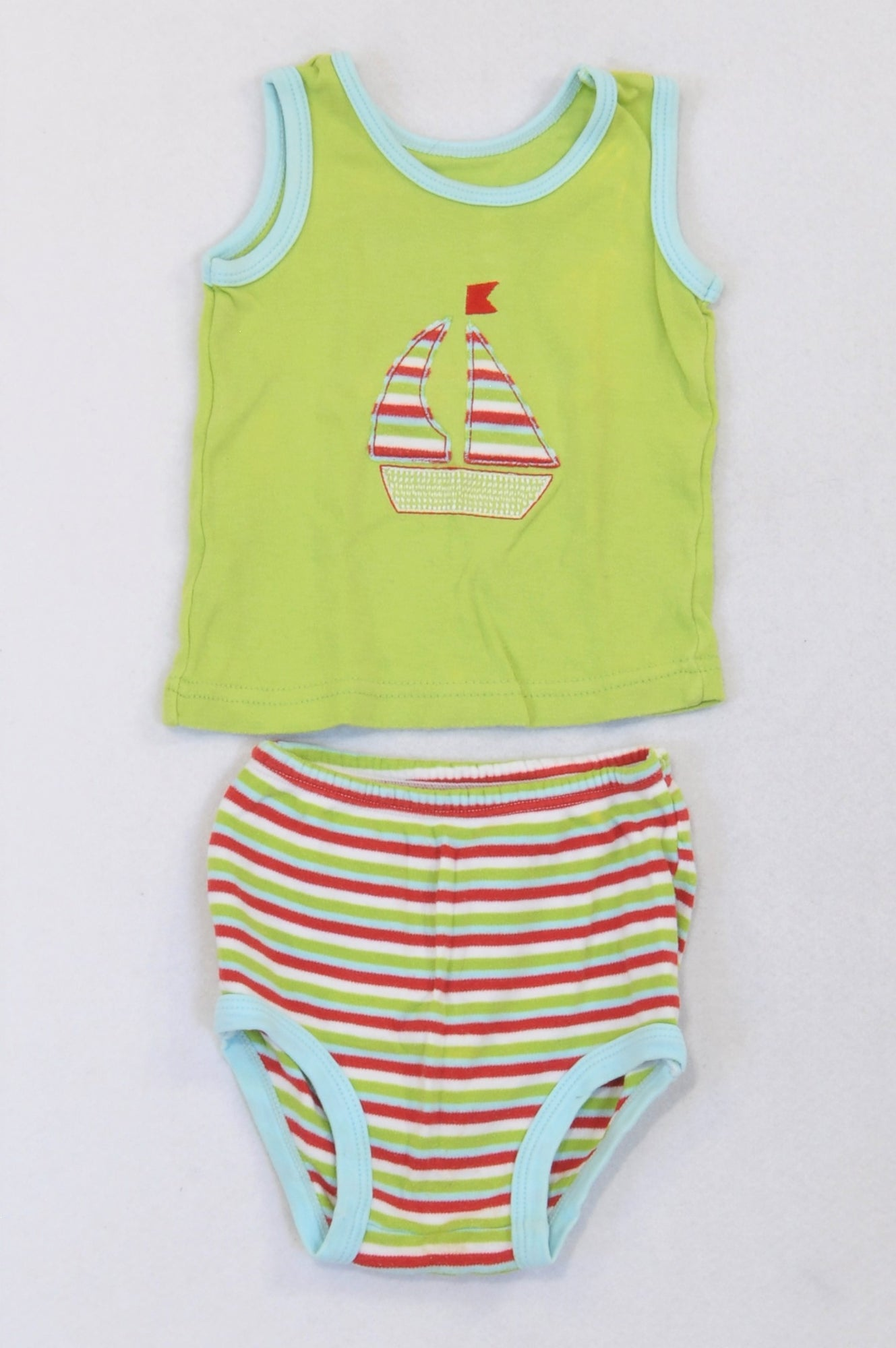 Woolworths Bright Green Sailboat T-Shirt & Striped Bloomers Outfit Boys 3-6 months