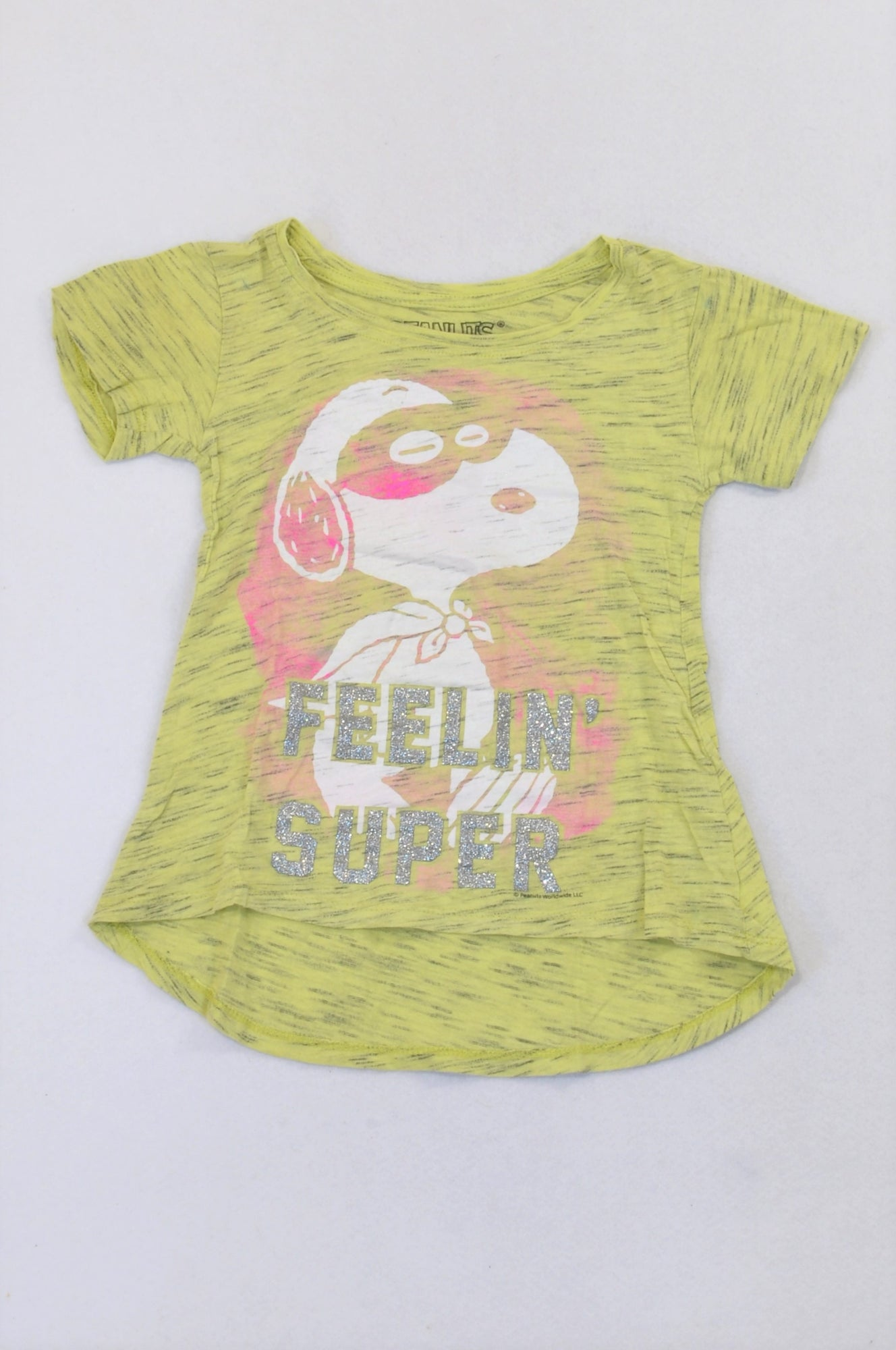 Peanuts Heathered Yellow Feelin' Super Snoopy T-shirt Girls 4-5 years
