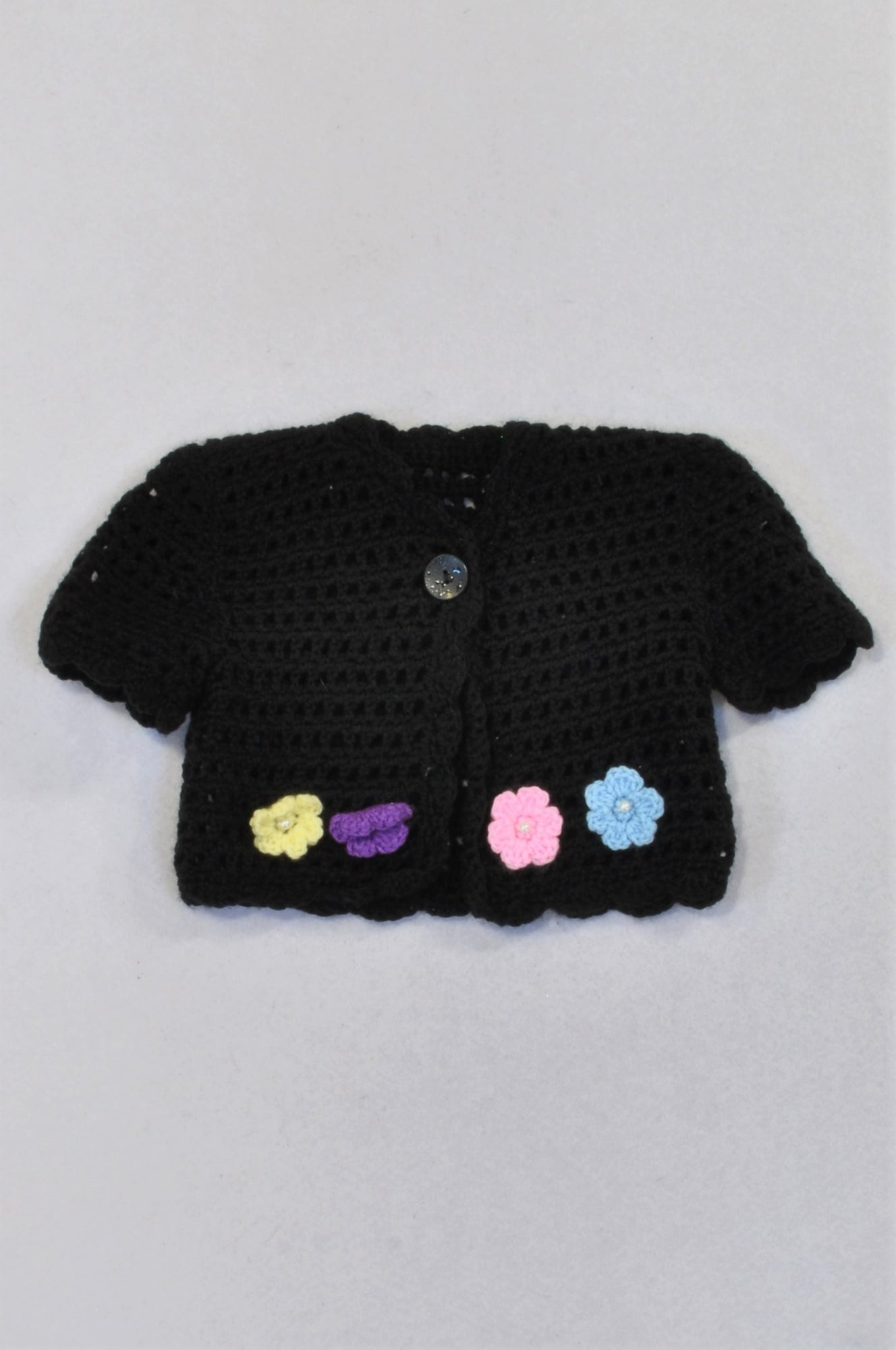 Handmade Black Knit Colourful Flower Cardigan Girls 6-12 months