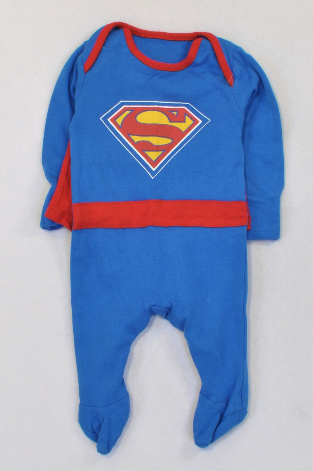 1c59c891f Superman Blue & Red Cape Onesie Boys 3-6 months – Once More