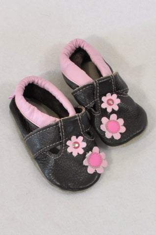 a71d126b943b Shooshoos Size 3 Brown Pink Flower Leather Shoes Girls 9-12 months