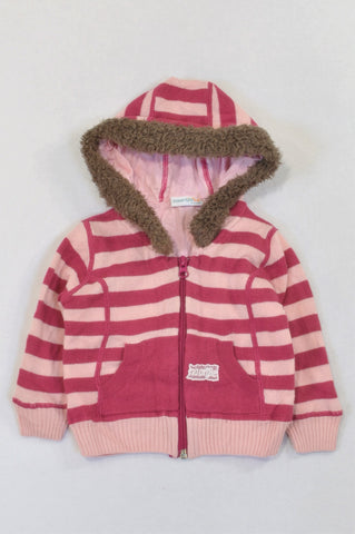 Naartjie Magenta & Soft Pink Stripe Hooded Knit Jersey Girls 6-12 months