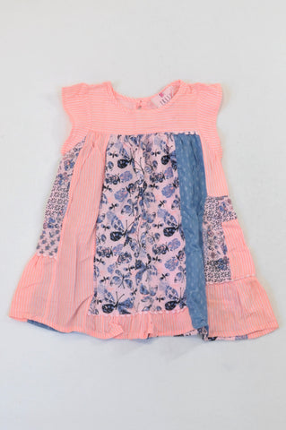 New Fresh Produce Mixed Panel Butterfly Long Length Blouse Girls 5-6 years