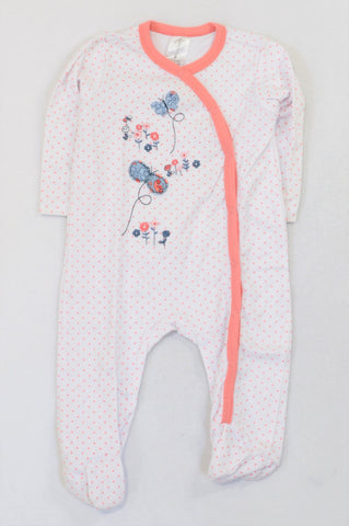 Clicks Peach Dotty Embroidered Onesie Girls 6-12 months
