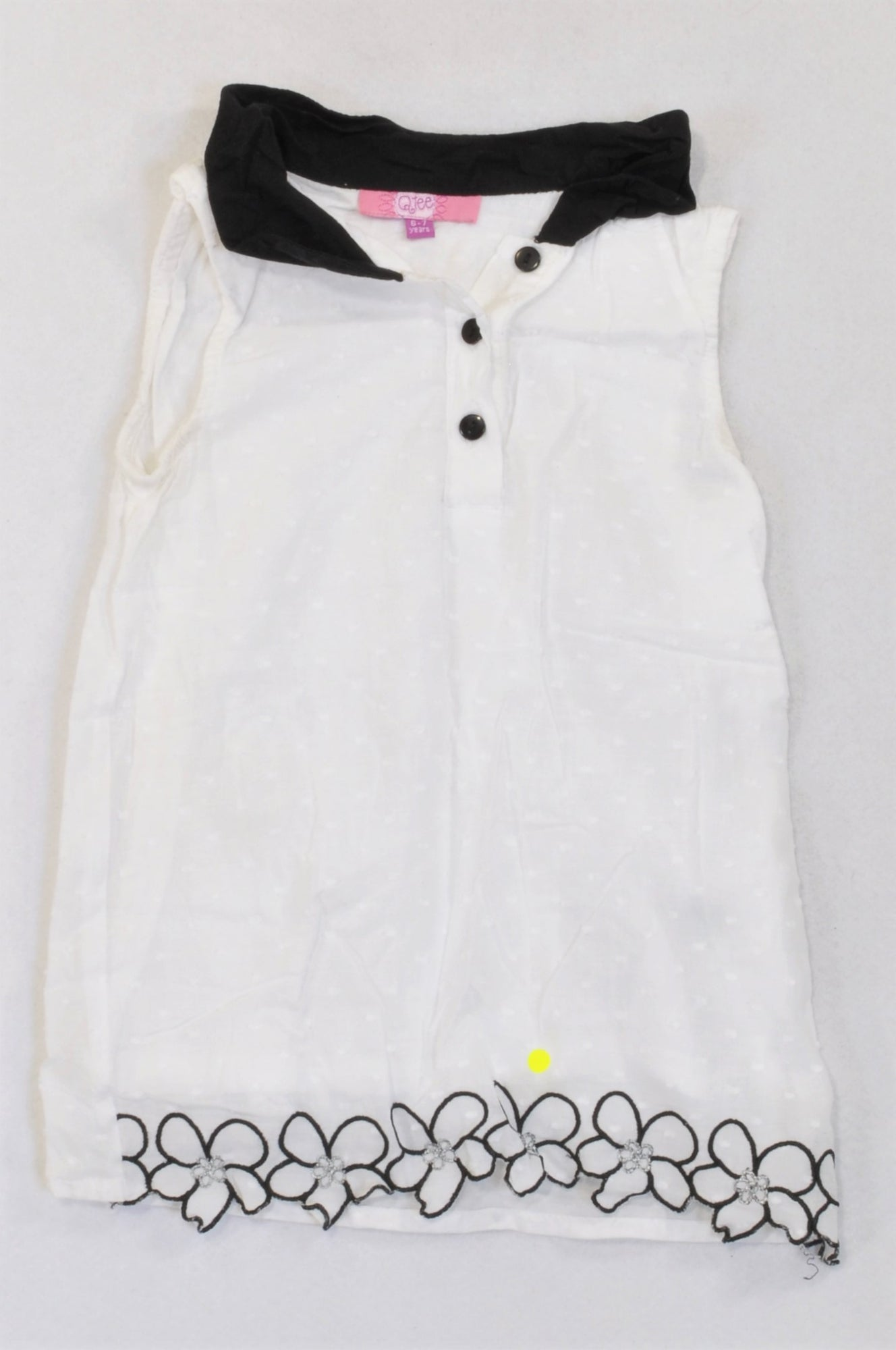 QTee White Pindot Black Embroidered Trim Blouse Girls 6-7 years