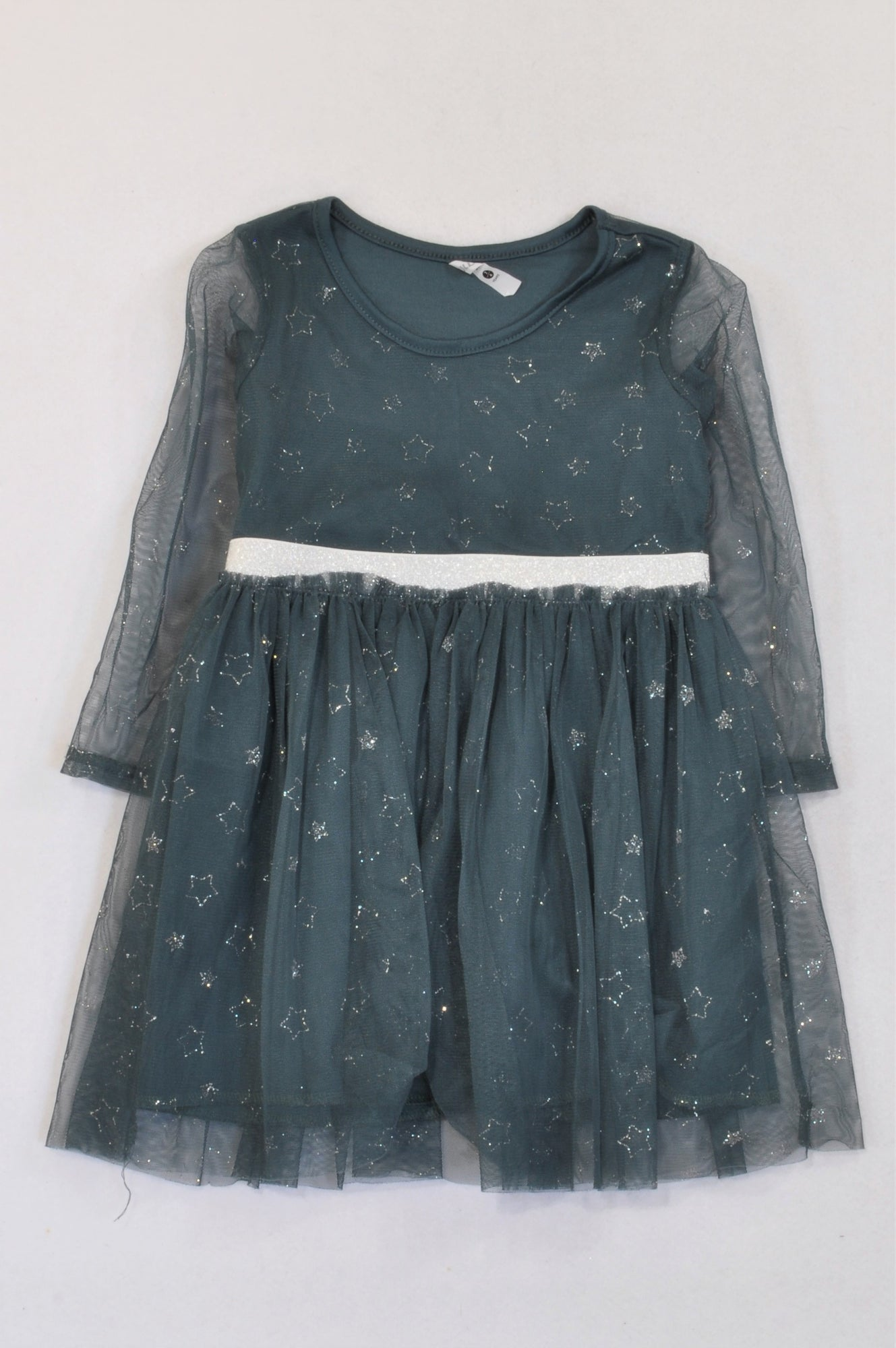 Mr. Price Ink Blue Silver Star Tulle Dress Girls 3-4 years