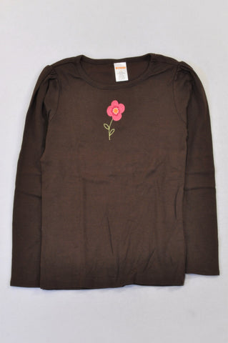 Gymboree Brown Pink Daisy T-shirt Girls 6-7 years