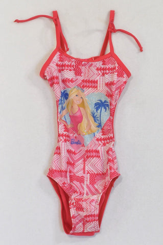 Barbie Pink Patterned Clip Back One Piece Swim Suit Girls 3-4 years
