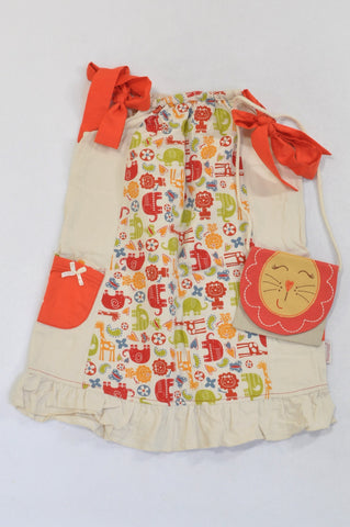Hooligans Coral Trim Animal Print Panel Beige Dress and Lion Purse Outfit Girls 6-7 years