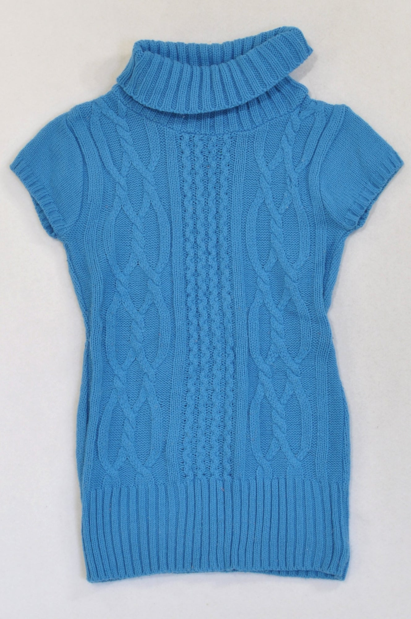 Pink Angel Blue Cable Knit High Neck Tunic Top Girls 5-6 years