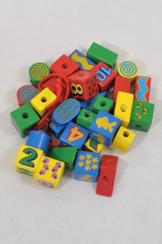 Multi Color Wooden Lacing Blocks Toys Unisex 1-5 years