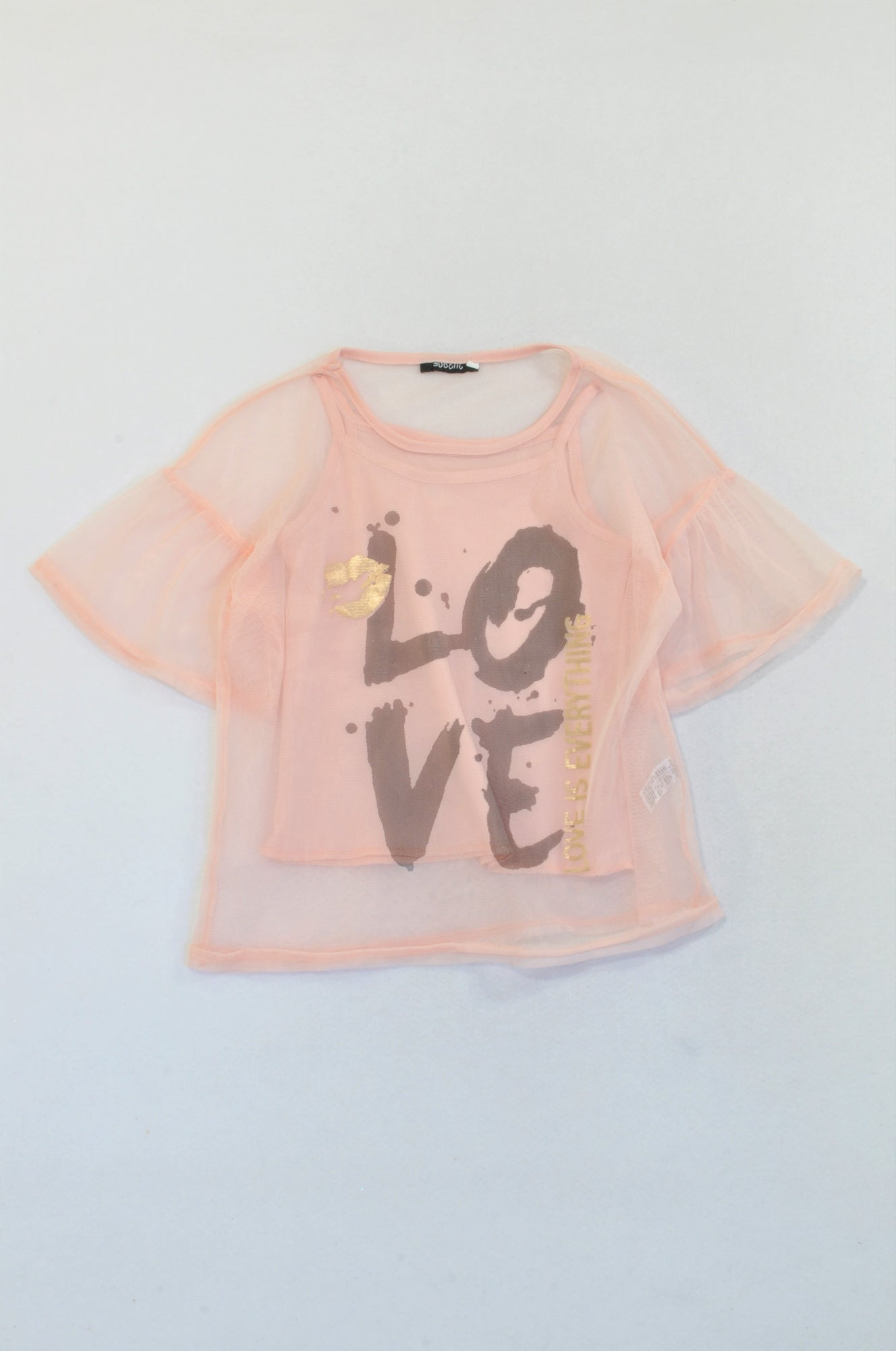 New Dusty Pink Netting LOVE Blouse Girls 9-10 years