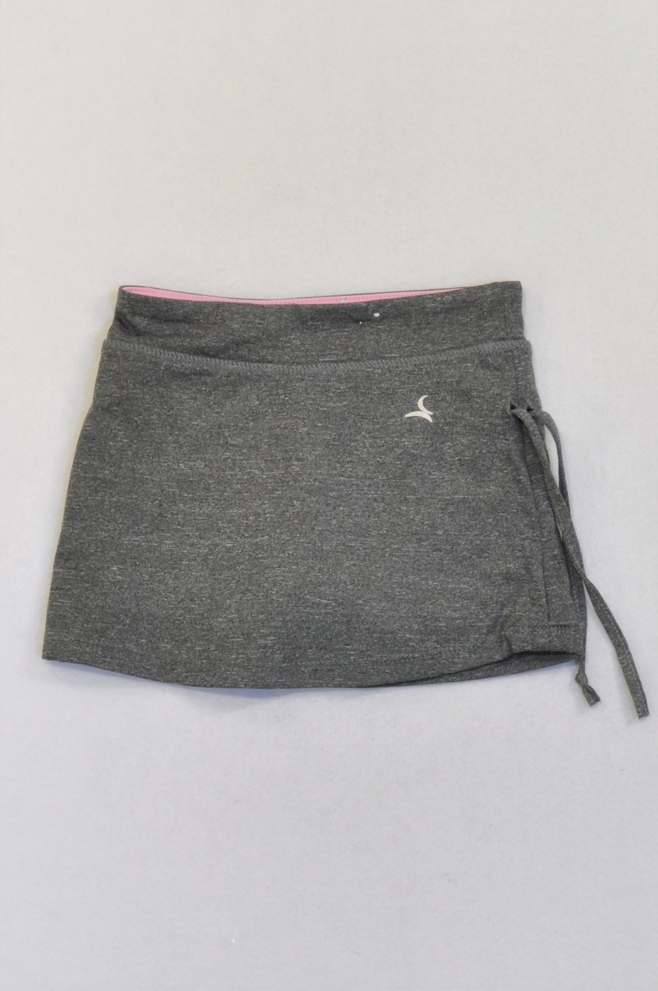 Pick 'n Pay Heathered Grey Pink Trim Lined Sport Skirt Girls 5-6 years