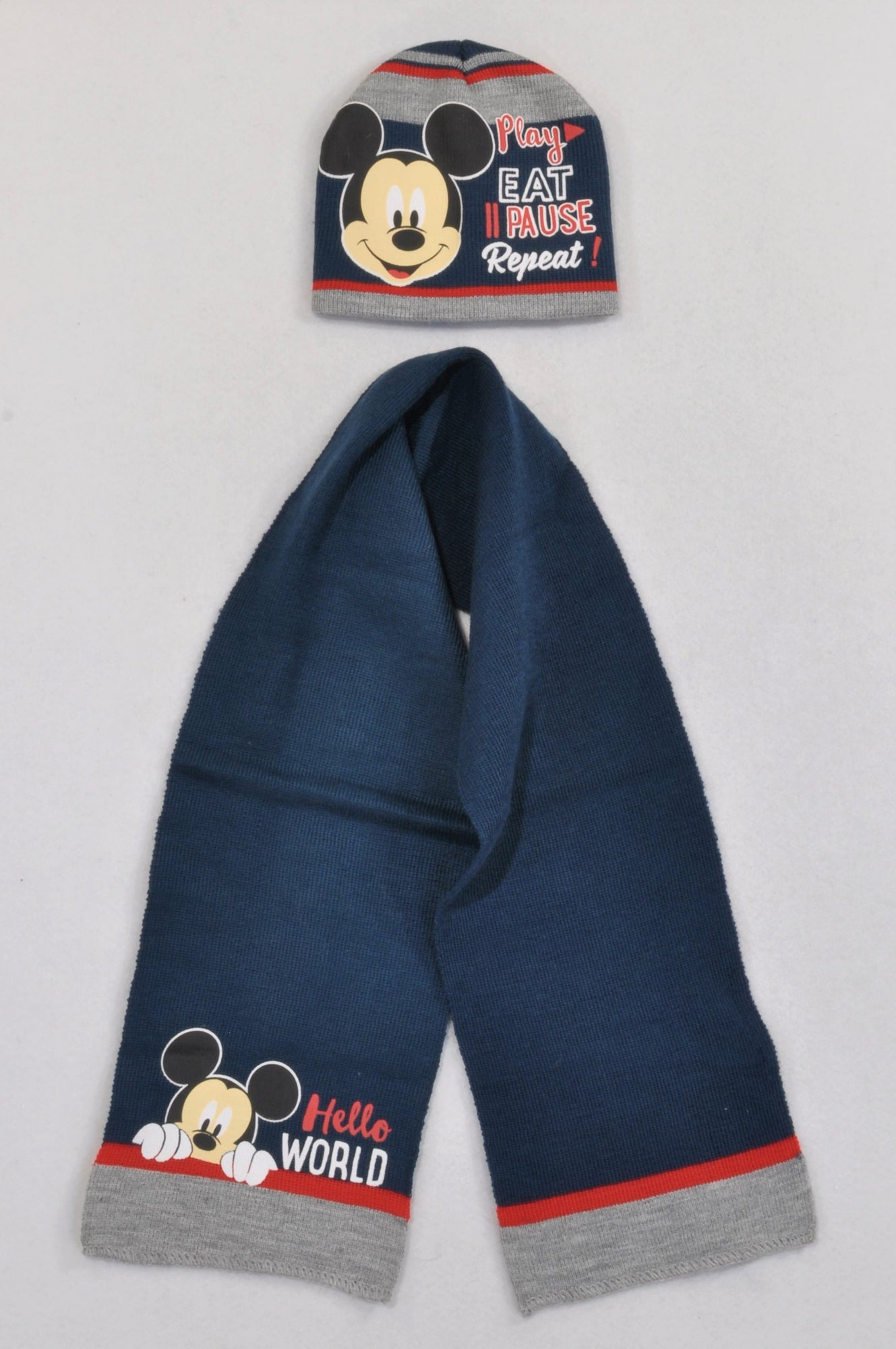 New Disney Navy & Grey Mickey Mouse Scarf & Beanie Boys 6-12 months
