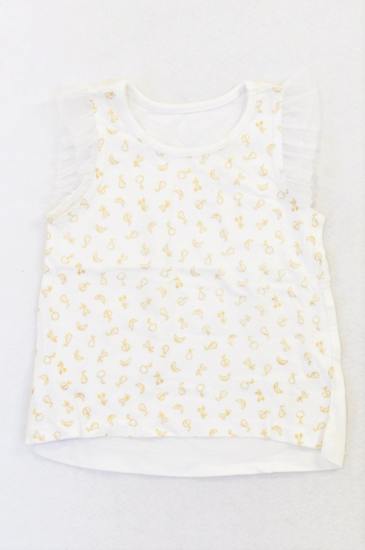 Woolworths Gold Fruit Tulle Sleeve T-shirt Girls 6-12 months