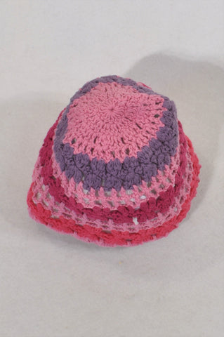 Pink & Purple Crochet Knit Beanie Girls 6-12 months