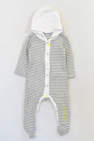 Naartjie Grey & White Striped Hooded Onesie Unisex 3-6 months