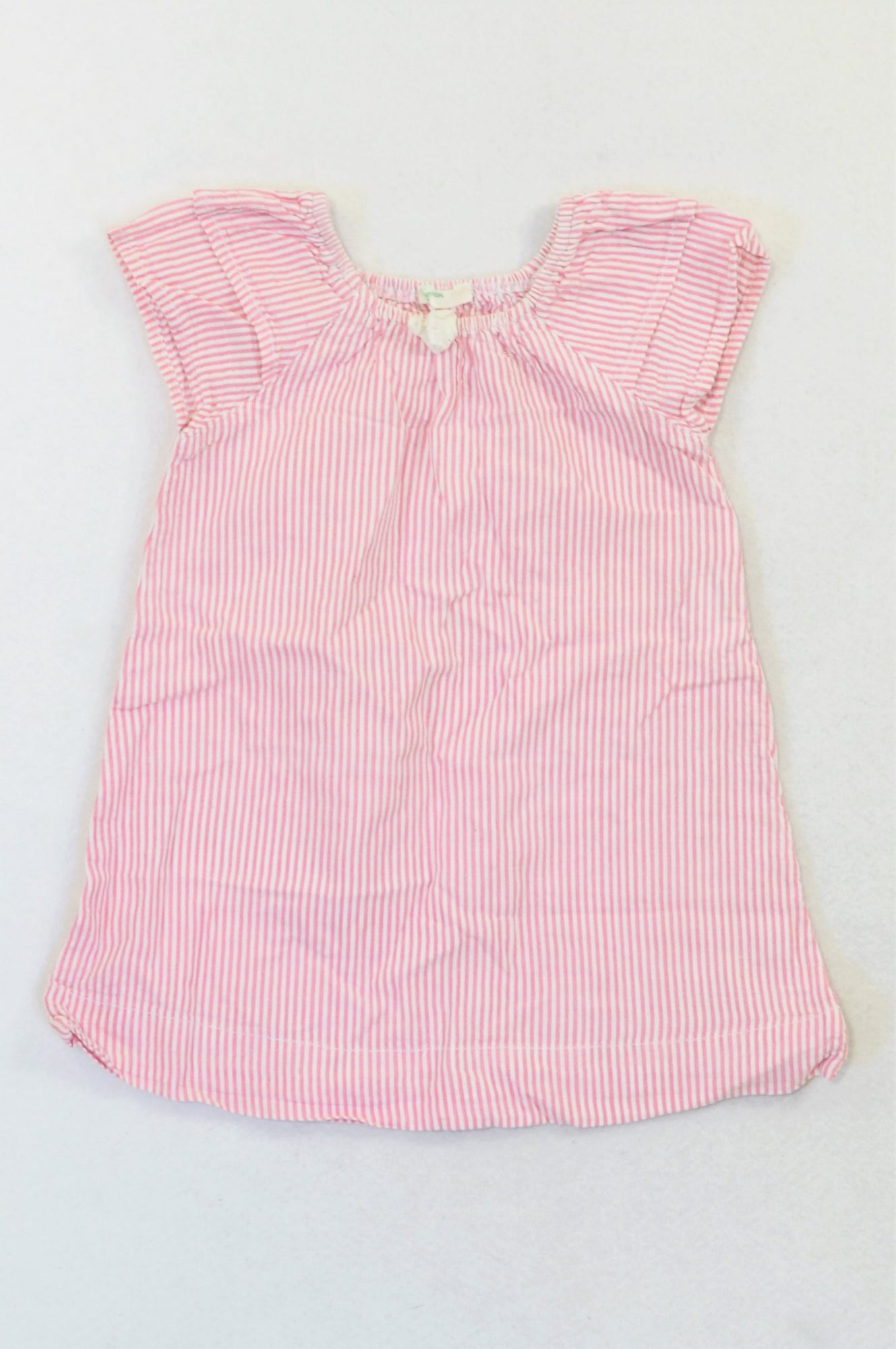 United Colours of Benetton Rose Pink Pinstripe Dress Girls 3-6 months