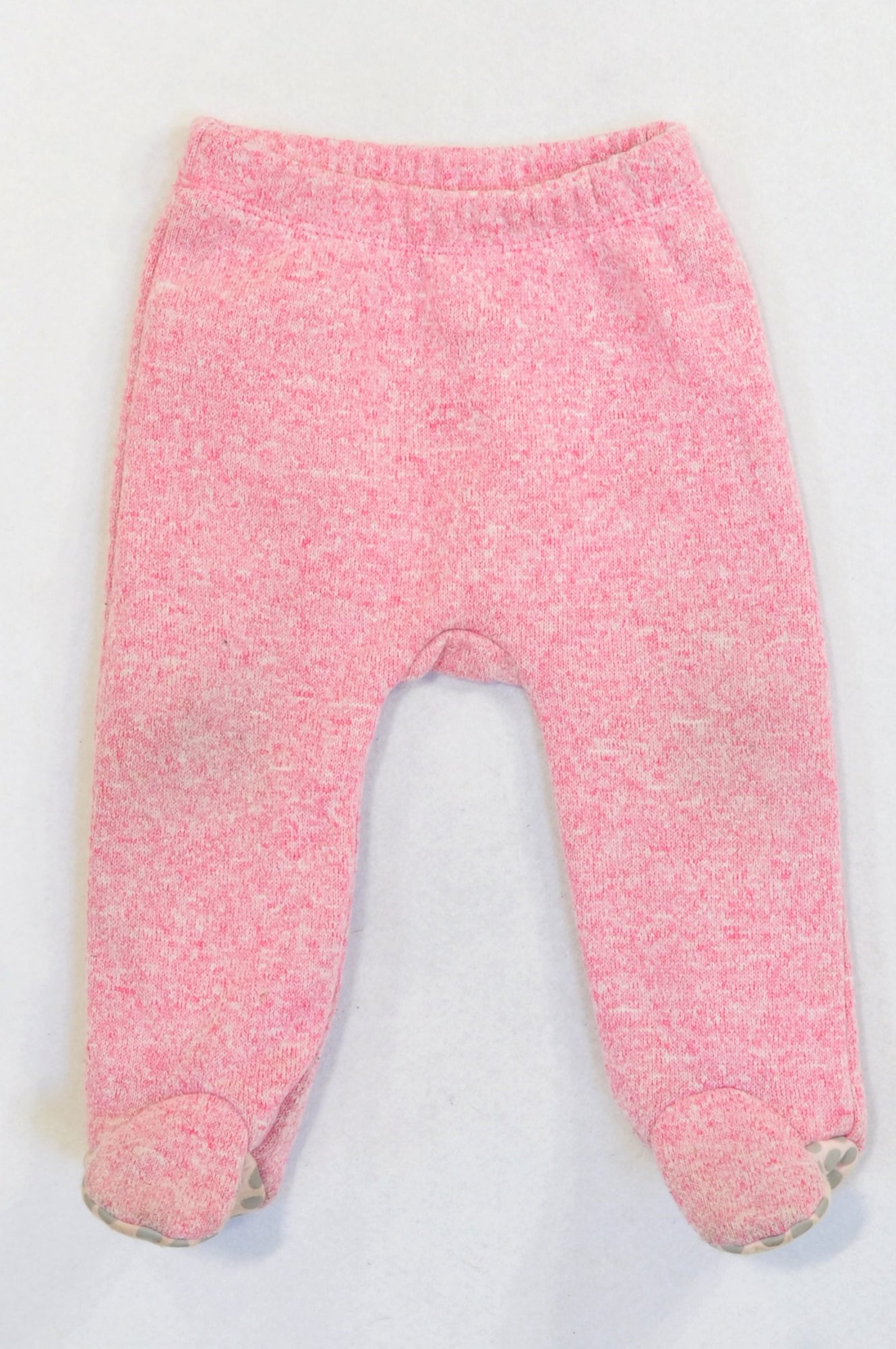 Woolworths Speckled Pink Knit Fleece Inner Footed Pants Girls 6-12 months