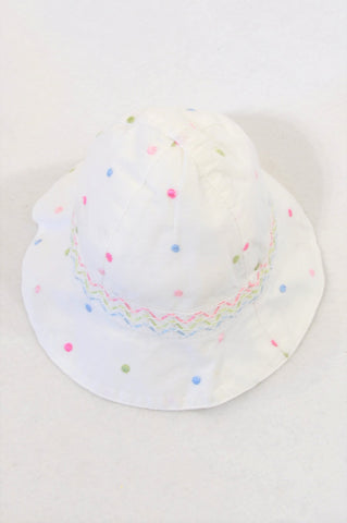 Mothercare Pindot Stitch Chin Tie Hat Girls 0-3 months
