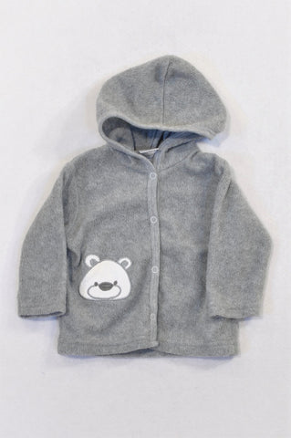 Jolly Tots Grey Fleece Bear Cardigan Unisex 3-6 months