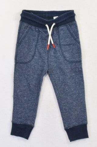 H&M Navy Heathered Cuffed Drawstring Pants Boys 18-24 months