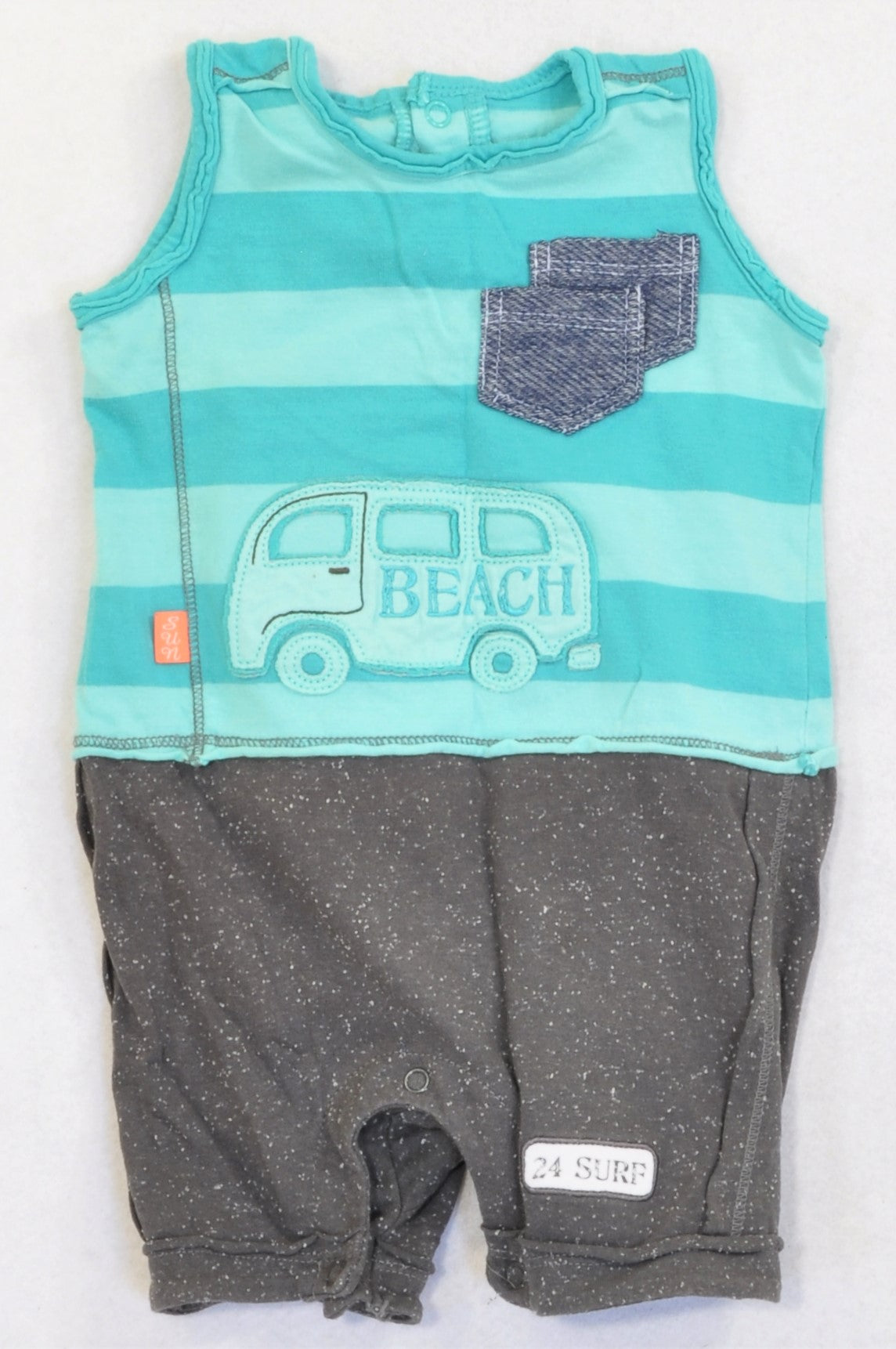 Woolworths Turquoise Striped & Speckled Grey Beach Kombi Romper Boys 3-6 months